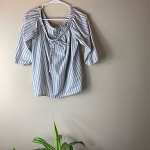 Madewell Pinstriped Off-the-Shoulder Blouse